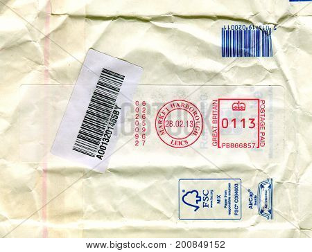 UK - CIRCA 2017: A revers side of the  envelope with UK postal stamp, circa 2013.
