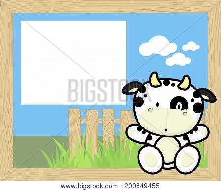 wood frame with cute baby cow and blank board for copy space design for children