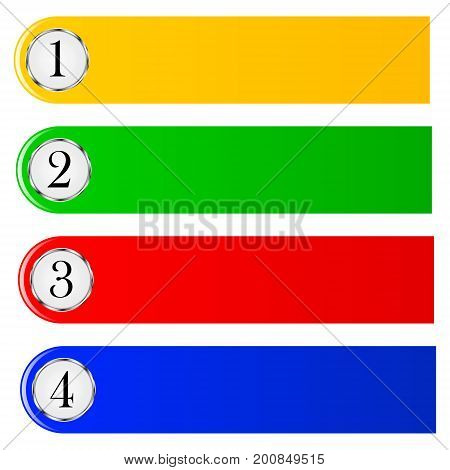 Set of colored bookmarks for text decoration diary and Web sites markup. Vector illustration.