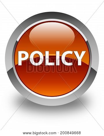 Policy Glossy Brown Round Button