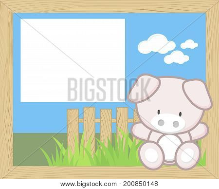 wood frame with cute baby piggy and blank board for copy space design for children