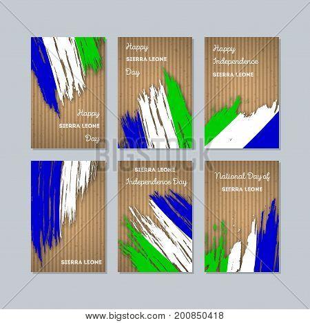 Sierra Leone Patriotic Cards For National Day. Expressive Brush Stroke In National Flag Colors On Kr