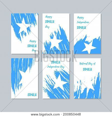 Somalia Patriotic Cards For National Day. Expressive Brush Stroke In National Flag Colors On White C