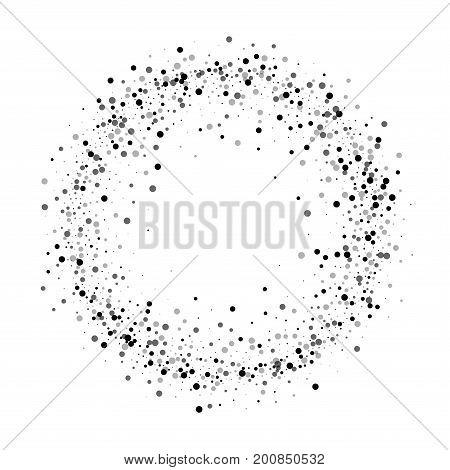 Dense Black Dots. Ring Frame With Dense Black Dots On White Background. Vector Illustration.