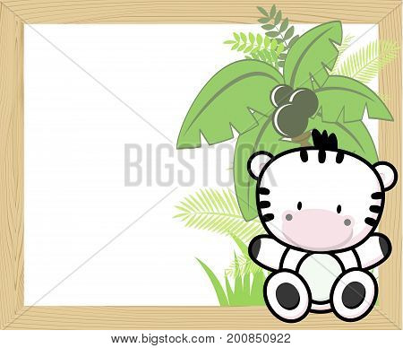 cute baby zebra with tropical leaves and palm tree on empty wood frame for copy space ideal for nursery art decoration or scrapbooking projects