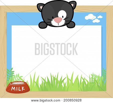 wood frame with cute baby black cat and blank board for copy space design for children
