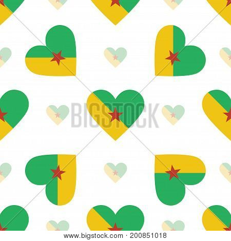 French Guiana Flag Patriotic Seamless Pattern. National Flag In The Shape Of Heart. Vector Illustrat