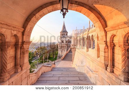 The north gate of the Fisherman's Bastion at the morning in Budapest Hungary .Fisherman's Bastion is the panoramic viewing terrace with fairy tale towers in Budapest.