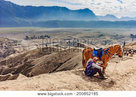 SURABAYA, INDONESIA - MAY 21, 2015: Unidentified horse rider with his horse at Mt.Bromo Tengger Semeru national park. The horse is a working horse and can be rent by visiting tourist.