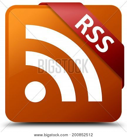 Rss Brown Square Button Red Ribbon In Corner