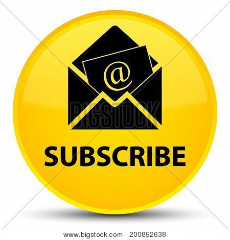 Subscribe (newsletter Email Icon) Special Yellow Round Button