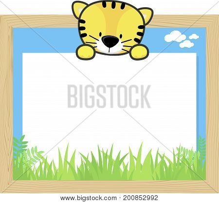 wood frame with cute baby tiger and blank board for copy space design for children