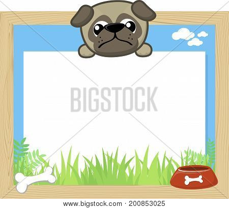 wood frame with cute baby pug and blank board for copy space design for children