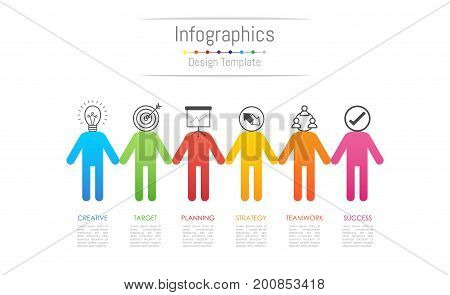 Infographic design elements for your business data with 6 options parts steps timelines or processes connecting people concept. Vector Illustration.