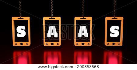SaaS software as a service, word illustration for business concept. Design in modern style with related icons concept for ui, ux, web, app banner design. Phones hanging from a chain. 3D rendering.