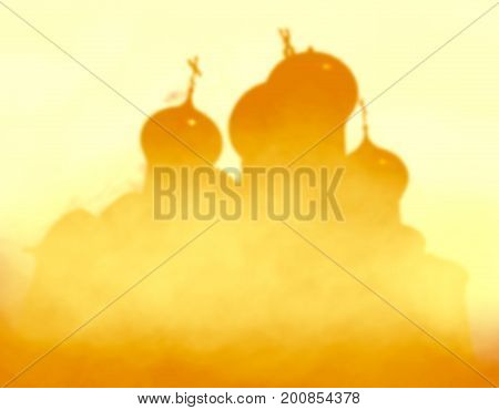 Sophia cathedral in the Vologda city. Yellow smooth silhouette in the fog