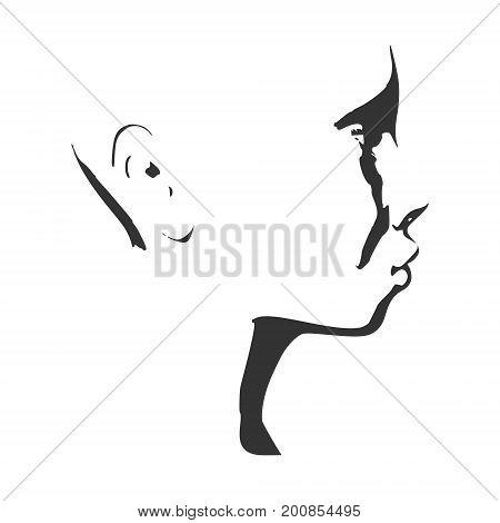 Face side view. Elegant silhouette of a female head. Vector Illustration. Monochrome gamma.
