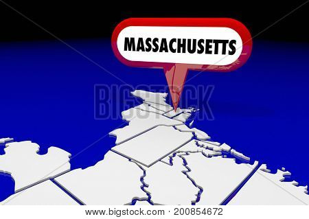 Massachusetts MA State Map Pin Location Destination 3d Illustration