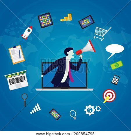 Vector illustration. Business concept. Internet web online digital marketing selling content product global worldwide trough website