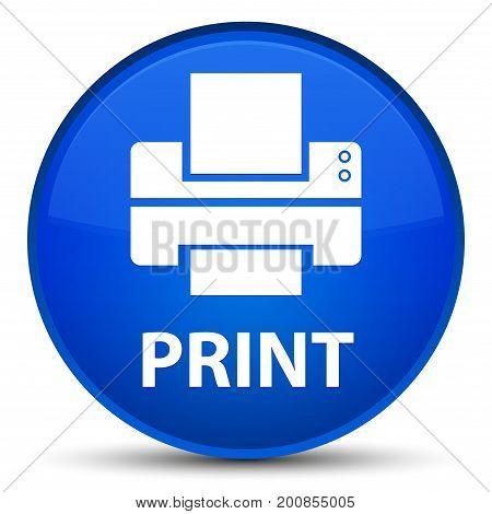 Print (printer Icon) Special Blue Round Button