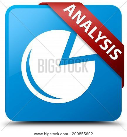 Analysis (graph Icon) Cyan Blue Square Button Red Ribbon In Corner
