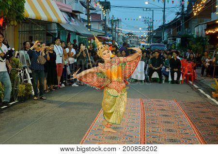 PRACHUAPKIRIKHAN THAILAND - May 22 2017: Half bird half woman dance Cultural performances Of Thailand on Susiuk Cultural Walking Street Night Market.