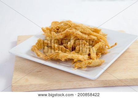 Crispy crisp deep fried fries breaded with corn flake crumbs flour