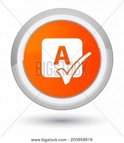 Spell Check Icon Prime Orange Round Button