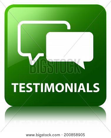 Testimonials Green Square Button