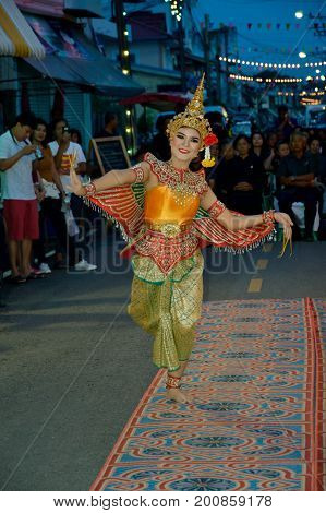 PRACHUAPKIRIKHAN THAILAND - May 22 2017: Half bird half woman dance Cultural performances Of Thailand on Susiuk Cultural Walking Street Night Market.