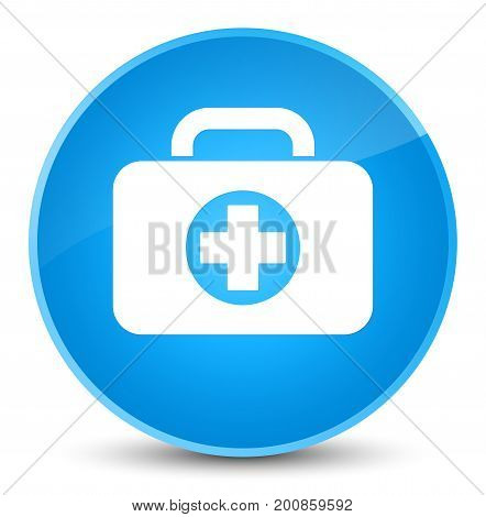 First Aid Kit Bag Icon Elegant Cyan Blue Round Button