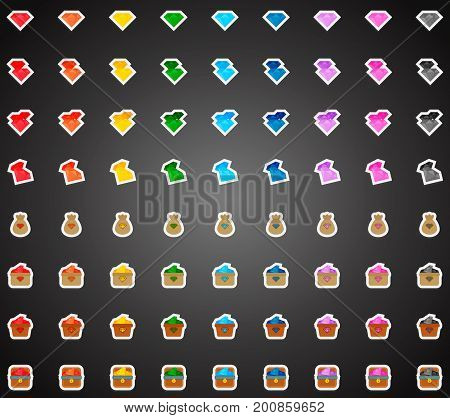 Set of colorful flat game icons of crystals in cartoon style. Bonuses and power-ups. 2d asset for user interface GUI in mobile application or casual video game.