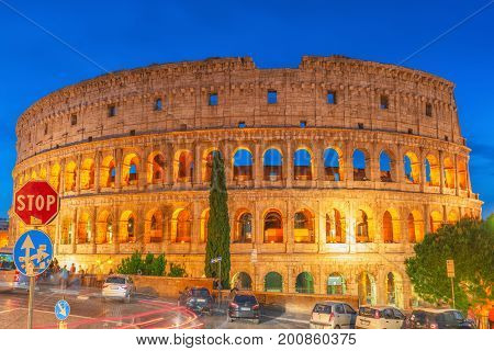 Rome, Italy- May 10, 2017: Beautiful Landscape Of The Colosseum In Rome- One Of Wonders Of The World