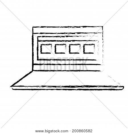figure laptop with business virtual document information vector illustration