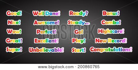 Set of game text lettering in cartoon flat style. 2d asset for user interface GUI in mobile application or casual video game.