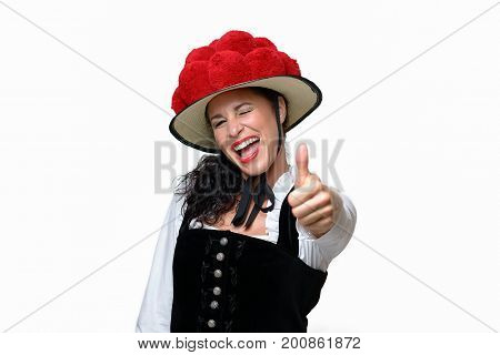 Enthusiastic Laughing Young Black Forest Waitress