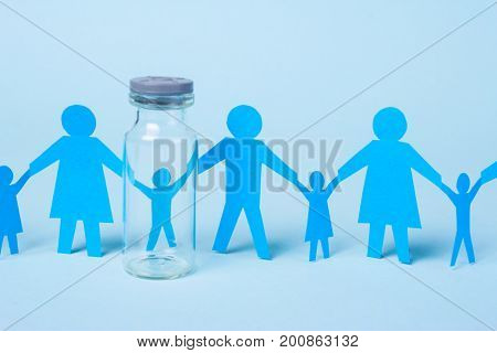 A child from a test tube or artificial insemination. Family holding hands