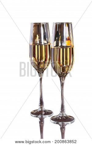 Two glass with white wine isolated on white bacground. Celebrities composition. Your text here