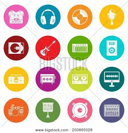 Recording studio items icons many colors set isolated on white for digital marketing