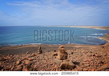 Ilha do Sal - Cabo Verde. Sea beach view from the above of cliff. Amazing sea and sunny day.