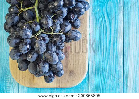 Grapes on a blue wooden table. Branch of fresh ripe red grapes. Beautiful background with a branch of blue grapes. Dark red wine grapes. Healthy Food Background.