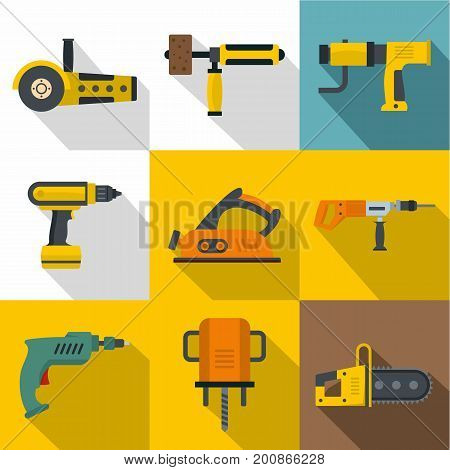 Builder equipment icons set. Flat set of 9 builder equipment vector icons for web with long shadow