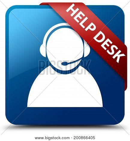 Help Desk (customer Care Icon) Blue Square Button Red Ribbon In Corner