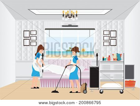 Maid cleaning hotel room with housekeeping trolley with bed clothes linen in cart and vacuum cleaner hotel room service vector illustration.