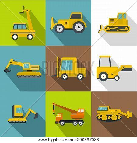 Construction vehicles icons set. Flat set of 9 construction vehicles vector icons for web with long shadow