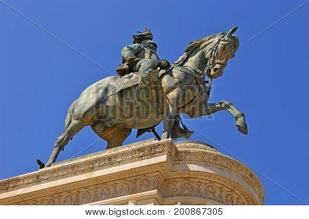 Bronze equestrian statue of Vittorio Emanuele from Vittoriano monumental altar in Rome ITALY