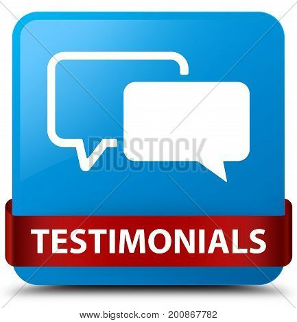 Testimonials Cyan Blue Square Button Red Ribbon In Middle