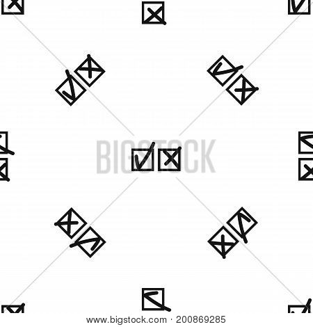 Checkmark to accept and refusal pattern repeat seamless in black color for any design. Vector geometric illustration