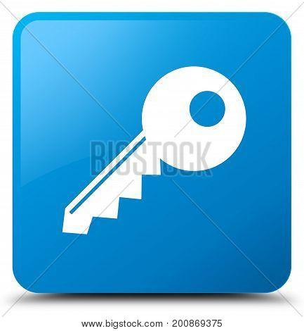 Key Icon Cyan Blue Square Button