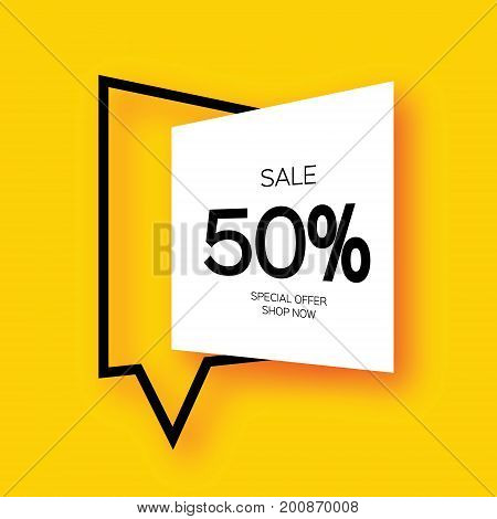 Modern paper cut geometric sale banner, special offer, 50 percents discount. Origami Trendy Label tag template. Shop now. Space for text. Yellow background. Vector illustration